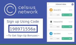 celsius network sign up bonus referral code reddit